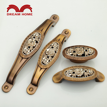 梦幻之家 咖古铜镶古银玫瑰 橱柜衣柜门田园美式欧式复古仿古拉手