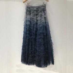 d家同款新款蓝色渐变网纱蓬蓬大摆中长款层层蛋糕裙半身纱裙子女