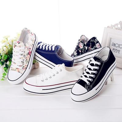新款帆布鞋女韩版潮流碎花厚底低帮休闲女鞋布鞋松糕鞋学生球鞋