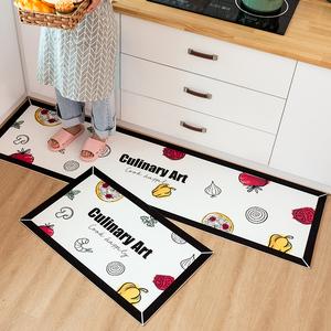 可擦洗厨房地垫防滑防油家用韩式免洗耐脏防水厨房垫地毯pvc中式