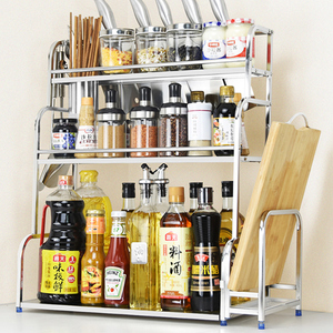 不锈钢厨房置物架调味料架用品刀架多层油盐酱醋收纳储物架多功能