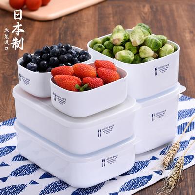 日本家用微波炉专用饭盒便当盒冰箱水果保鲜盒塑料长方形食品盒子