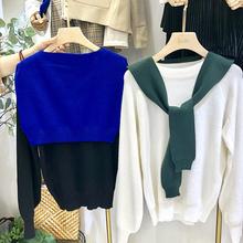 2018秋と冬の新しい女性のネットカラーファッション気質のカジュアルな野生の薄いセーターのセーターの小さなショール