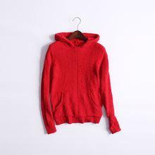瑕疵处理女士秋冬季连帽套头保暖家居服红色睡衣单件上衣