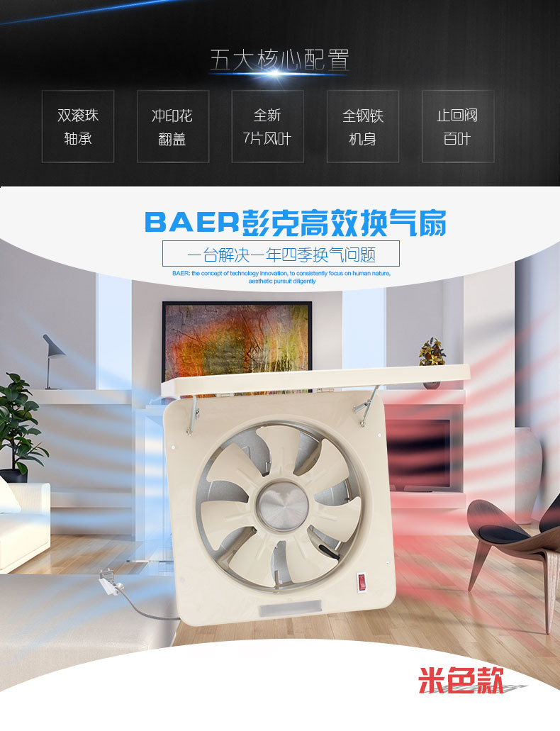 10寸静音 厨房墙壁窗式抽排油烟换气扇排气扇/高速抽风机 大风力