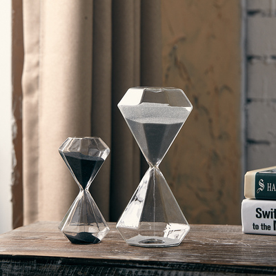 北欧风现代简约卧室书房办公室酒店家居客厅装饰品 玻璃沙漏摆件