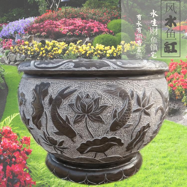 石雕花盆天然