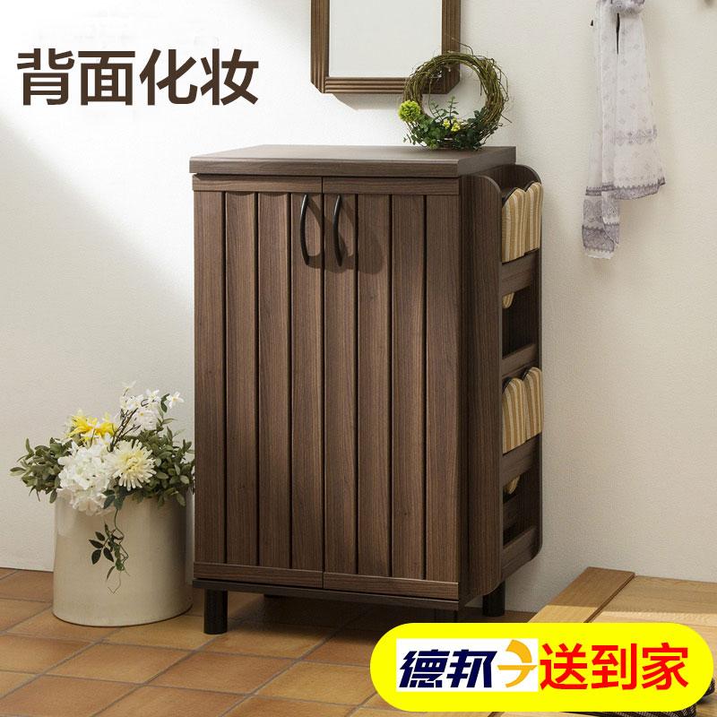 越茂 鞋柜现代简约门厅柜多层木质多功能对开门大容量玄关收纳柜