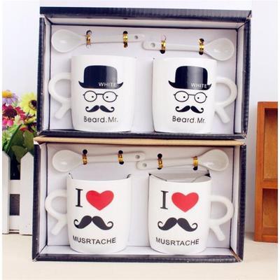 创意带勺情侣杯子 一对喝水杯子 小胡子情侣系列水杯陶瓷杯套装