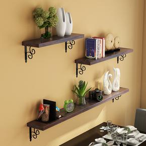一字隔板墙上置物架客厅卧室背景墙面装饰壁挂架铁艺支架实木搁板