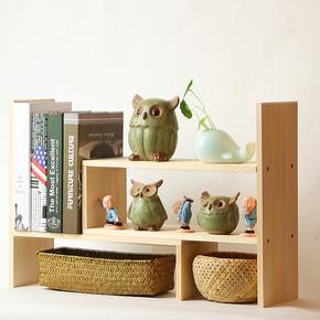 桌面办公收纳 置物架创意桌上简易组合收纳书架 实木桌面收纳盒