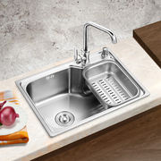 Kitchen 304 stainless steel single slot One-piece thickened sink Brushed sink sink sink package