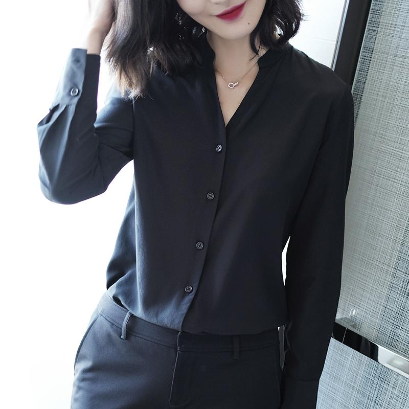 吸睛丝垂早秋雪纺休闲v领黑色衬衫女士长袖衬衣女2018新款上衣女满188元减5元