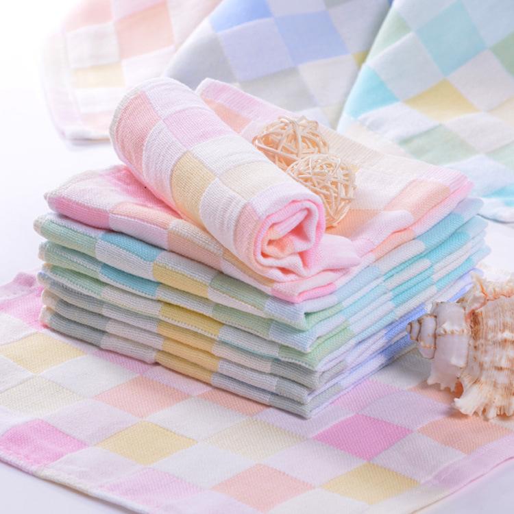 10条纱布纯棉口水巾宝宝小方巾婴儿毛巾双层洗脸巾手帕新生儿手绢