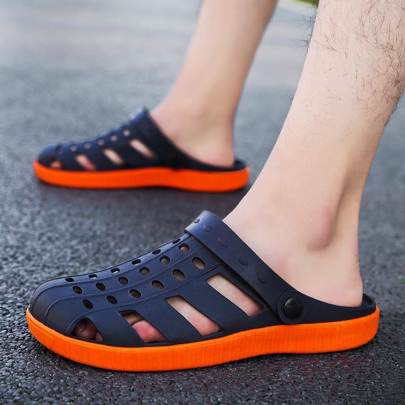 越南橡胶凉鞋男夏季软底防滑洞洞鞋鸟巢镂空沙滩鞋果冻鞋男半拖鞋