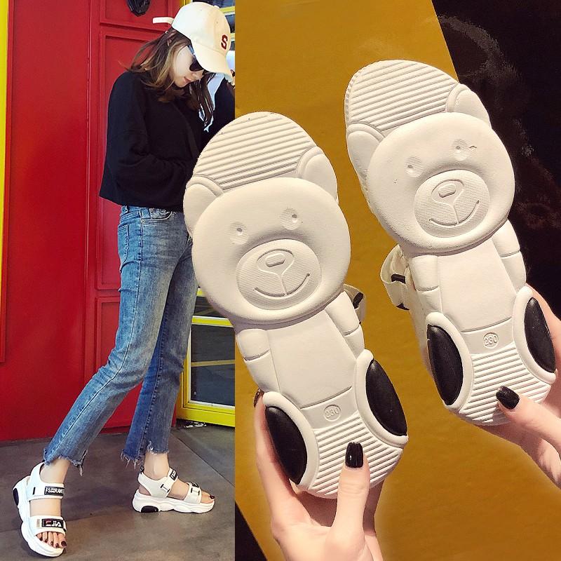 魔术贴厚底凉鞋女夏2019韩版新款小熊鞋底时尚百搭运动学生沙滩鞋