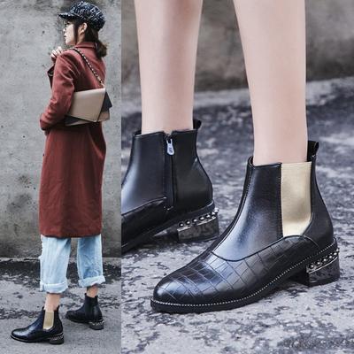英伦风休闲切尔西靴尖头方跟侧拉链拼色短靴女2018秋冬新款女靴子
