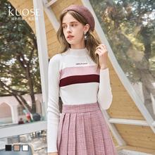 阔色2018新款韩版女chic毛衣闺蜜装套头高领薄款打底衫针织衫预售