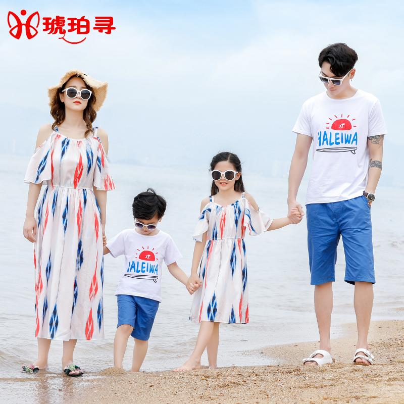 沙滩亲子装度假潮连衣裙一家三口新款海边