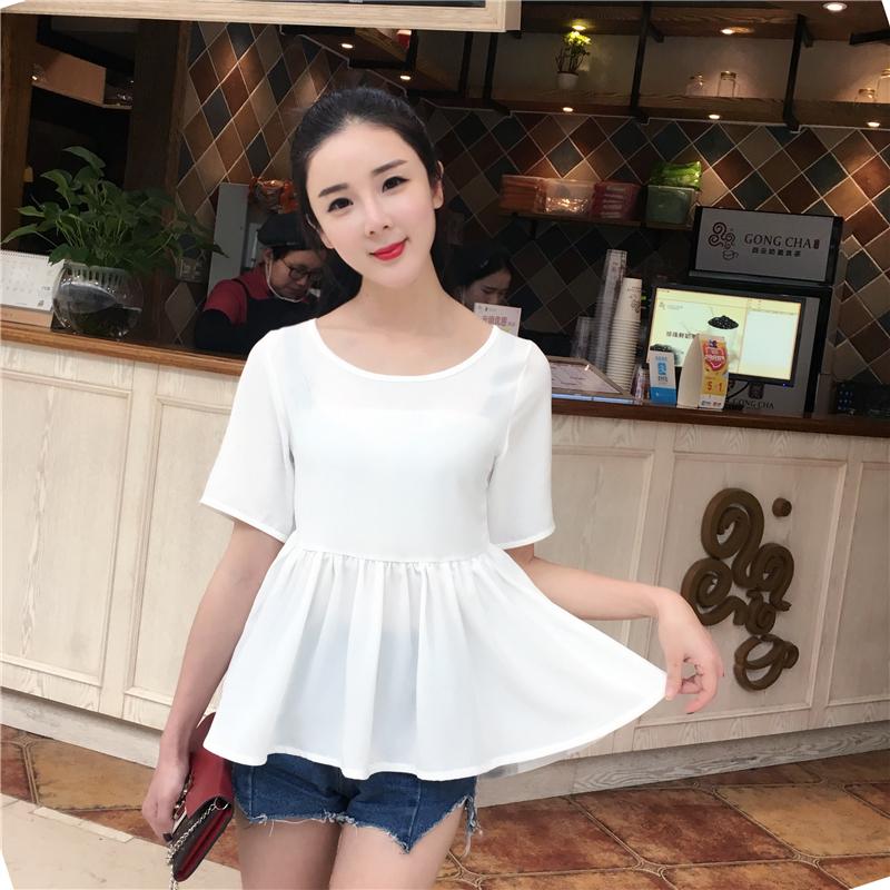 雪纺衫女短袖2017夏季新款女装韩版娃娃领大码宽松显瘦半袖上衣潮