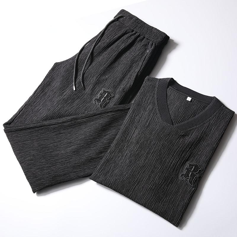 高端夏款男士棉麻套装 薄款做皱青年短袖修身直筒休闲运动套装男