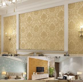 欧式大马士革墙纸 无纺布撒金卧室满铺壁纸 客厅电视背景墙