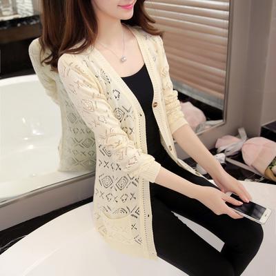秋季新款中长款针织披肩薄外套开衫女装韩版镂空长袖上衣