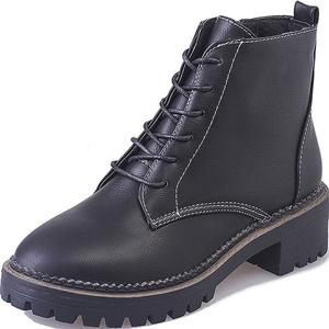高跟鞋女粗跟马丁靴女鞋子女2017新款秋冬季韩版短靴女靴加绒女鞋