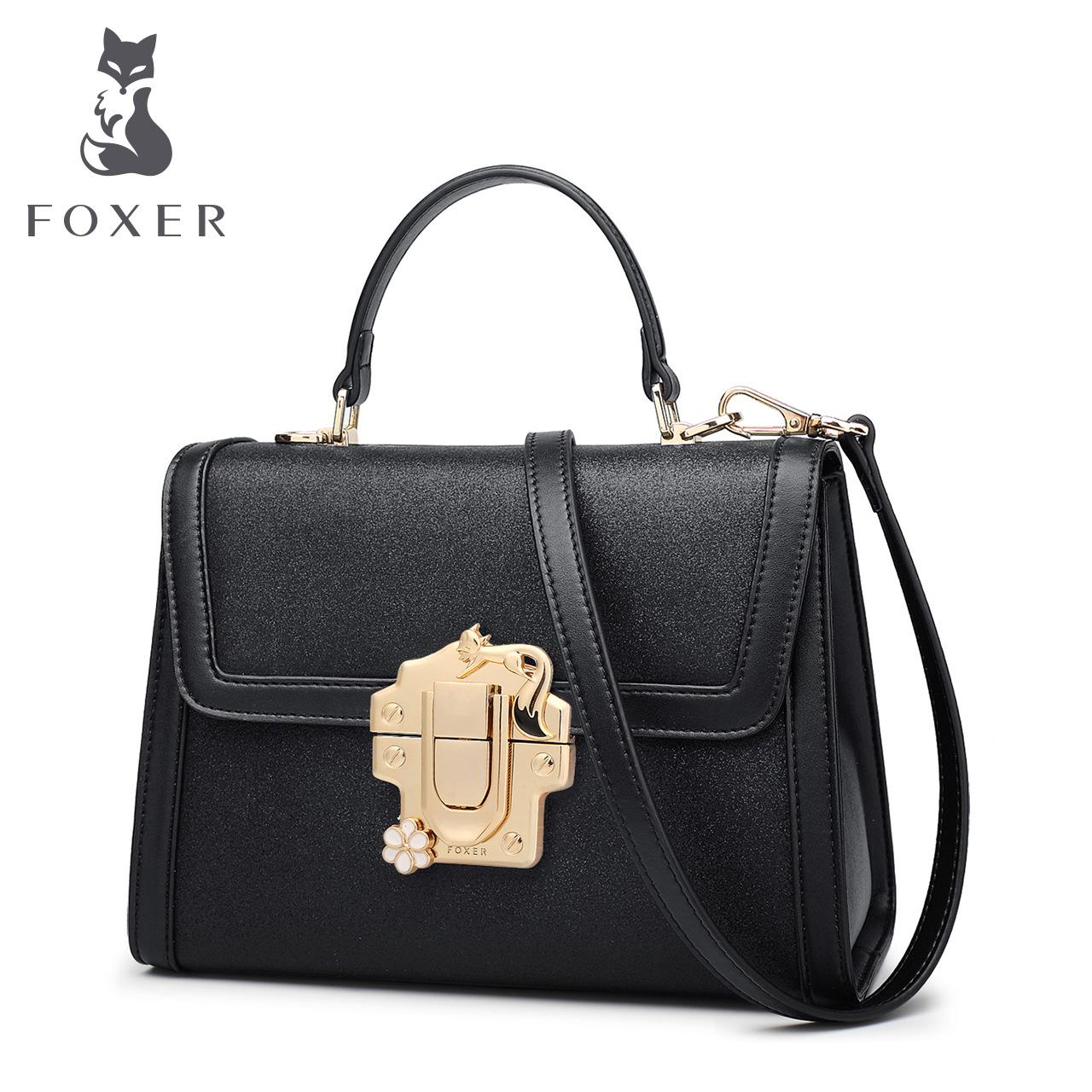 FO奢侈品女包国际大牌潮新款牛皮手提包欧美时尚小方包女士锁扣包