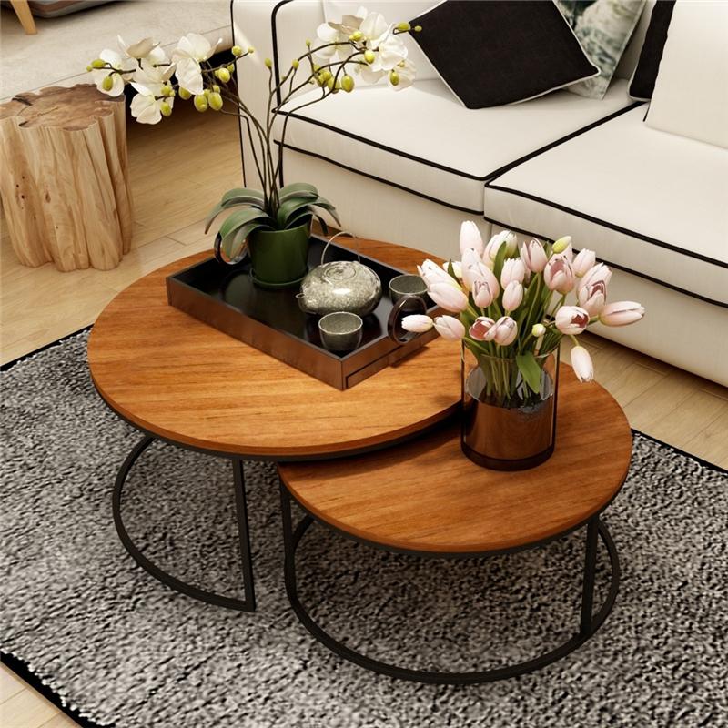 美式复古铁艺实木茶几桌几何时尚创意大小户型圆形茶几茶桌