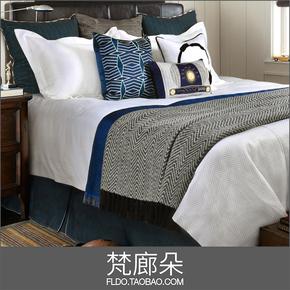 梵廊朵高端样板房间家居软装摆件床上用品多件套床品现代男孩房蓝