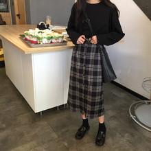 春季女装2019新款韩版学院风中长款显瘦格子半身裙学生百搭A字裙图片