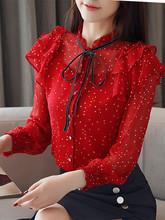 2019春装新款女装韩版很仙的超仙上衣波点蝴蝶结雪纺衫女长袖衬衫图片
