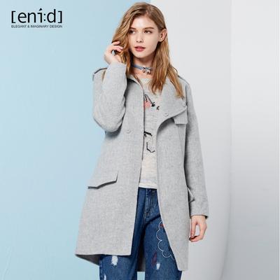 enid冬新品单排扣毛呢外套女中长款纯色直身双面呢大衣1648747EW