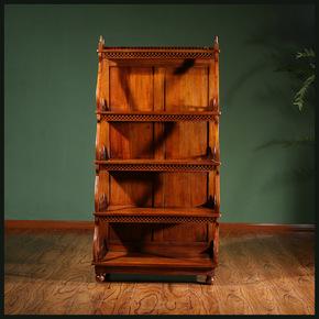 东南亚进口柚木家具 全实木书架置物架 落地书柜简约柚木架子客厅