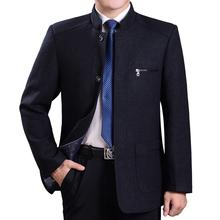 新中老年男士春秋季厚款外套羊毛呢爸爸装立领单排纽扣子上衣宽松