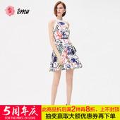 emu/依妙夏季新品时尚连身装无袖印花梭织背心式连衣裙127210053