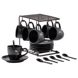 Ceramic coffee cup set Japanese coffee set household 6 piece afternoon tea set coffee cup saucer cup with spoon