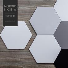艺争哥尔摩北欧黑白灰六角砖厨房防滑地砖宜家卫生间瓷砖260300