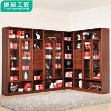 新中式转角实木书柜 带玻璃门置储物柜子书房组合书橱书架