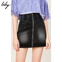 Lily2019夏新款女装磨白钉珠前拉链A字收腰牛仔短裙半身裙6909