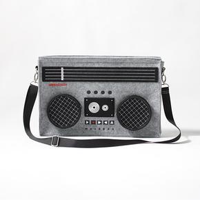 电台DJ潮款收音机14寸毛毡包 休闲创意 男士个性复古录音机单肩包