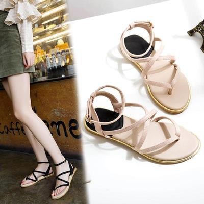 正品女鞋2018年夏季凉鞋平跟罗马风格绒面夹趾细带组合凉鞋夹趾鞋