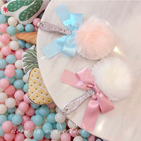 INS European-style Japanese retro dream cute girl heart plush bow handle hand-held makeup mirror portable mirror