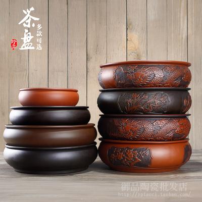 包邮宜兴紫砂茶盘茶海茶船6寸8寸10.5寸圆形储水式大茶盘功夫茶具