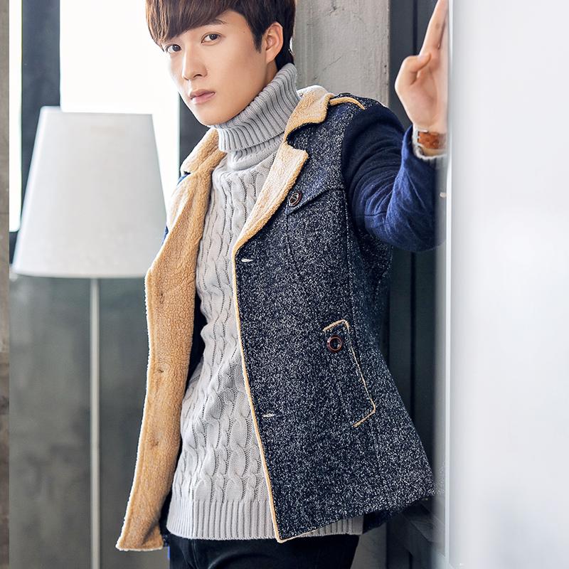 冬季新款男士妮子风衣短款尼子外套韩版修身秋冬装青年毛呢大衣潮