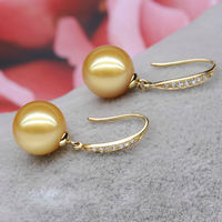 South Sea Golden Pearl Earrings Ear Hook Natural Sea Water Pearl Stud Earrings Hypoallergenic 925 Silver Diamond Earrings