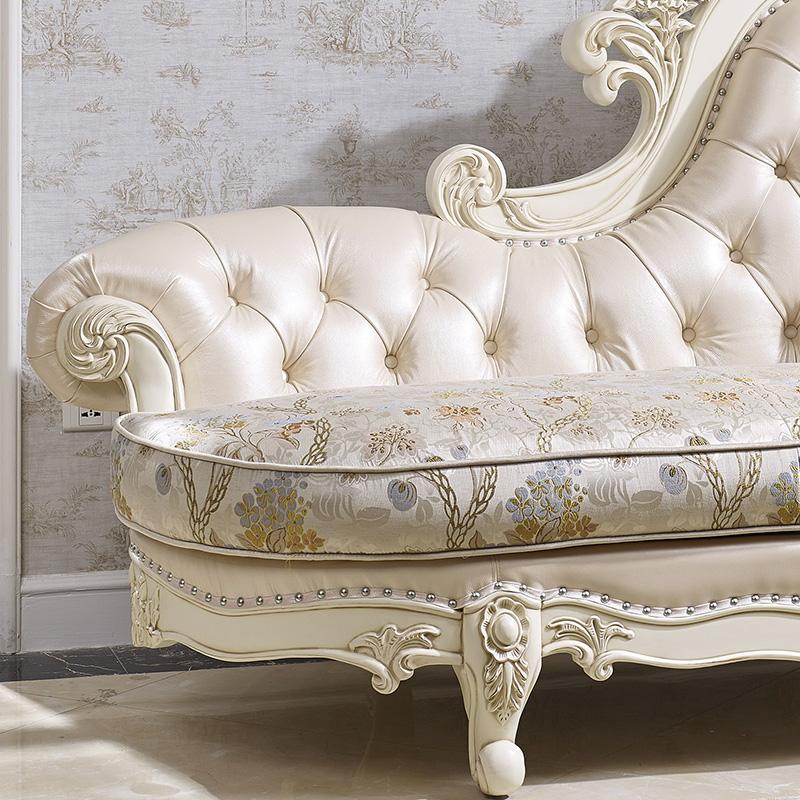 赫莎法式家具欧式实木布艺休闲椅客厅美人榻沙发休闲椅TS