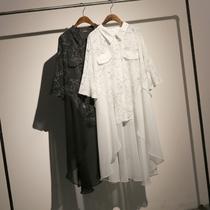 哦呀苏米 2019新款印花雪纺衬衫女长款宽松大码显瘦不对称衬衫裙