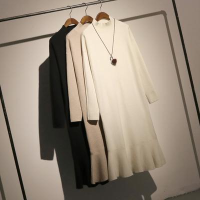 哦呀苏米 纯色高领毛衣裙女长款宽松套头荷叶边鱼尾裙针织连衣裙